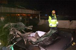 Restos del coche tras ser arrollado por un camión en Toledo