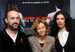 Javier Cámara, Elena Salgado y Maribel Verdú durante la presentación de la campaña