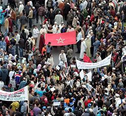 Aspecto de la manifestación en Rabat (EFE)