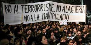Jóvenes españoles en las manifestaciones contra la Guerra de Irak