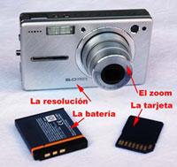 Algunos de los elementos de las cámaras digitales.