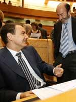 Zapatero y Rubalcaba amigos