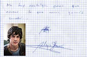 Un autógrafo de Alejo Sauras