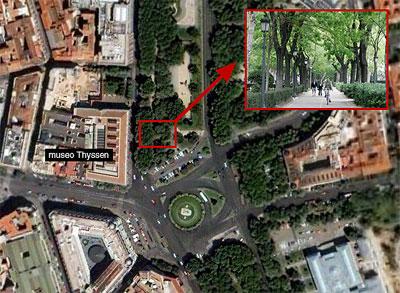 El museo Thyssen y la zona een la que serán retirados los árboles.