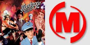 Portada de un disco de la Orquesta Mondragón (i.) y logotipo del Grupo Mondragón (d.)