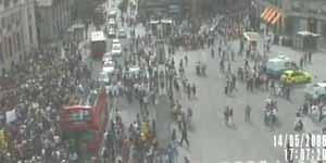 Visión de la Puerta del Sol de Madrid, según las cámaras del Ayuntamiento
