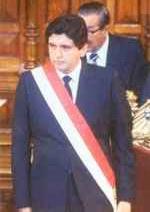 Alan García en su toma de poder en 1985.
