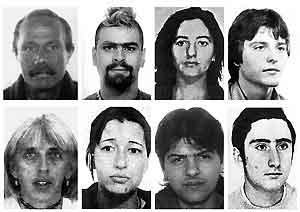 Uno de los �ltimos golpes a los GRAPO fue la detenci�n en Par�s de (i-d, arriba-abajo) Fernando Hierro Chom�n (7 a�os), Marcos Mart�n Ponce (6 a�os), Mar�a Angeles Ruiz Villa (6 a�os), Joaqu�n Garrido Gonz�lez (5 a�os), Josefina Garc�a Aramburu (5 a�os), Gema Bel�n Rodr�guez Miguel (5 a�os), Marcos Regueira Fern�ndez (4 a�os), y Antonio Lago Fern�ndez (2 a�os). (Reuters)