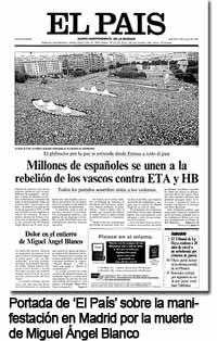 Portada de El País por la muerte de Blanco.