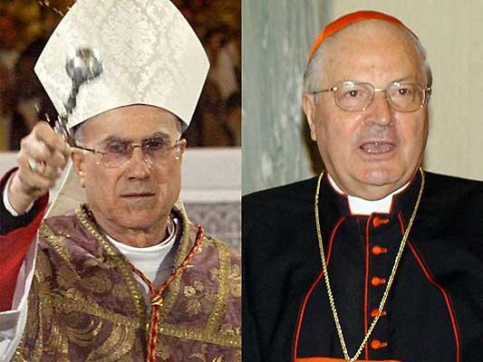 El cardenal de Génova (Italia), Tarcisio Bertone (i) y el cardenal Angelo Sodano (d). (Efe)