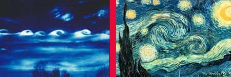 A la izquerda una turbulencia atmosférica y a la derecha 'Noche estrellada' de Van Gogh (Universidad de Calgary / Morrice.info).