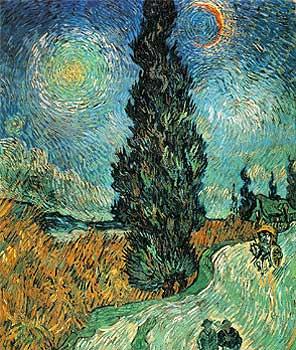 El cuadro 'Camino con ciprés y estrella' de Van Gogh.
