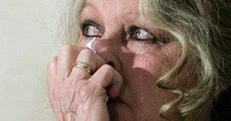 Brigitte Bardot llorando