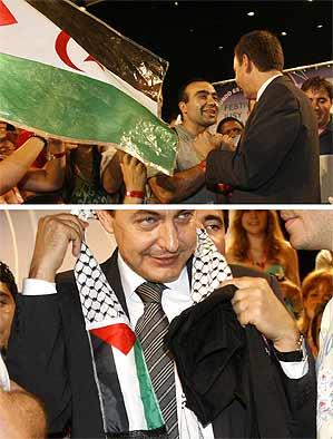 Secuencia de imágenes de Zapatero con símbolos saharauis y palestinos (Efe).