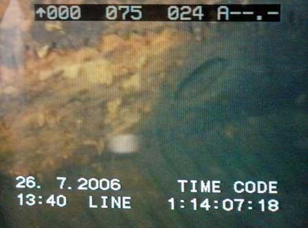 """Fotografía de una cámara submarina que muestra los restos del """"Graf Zeppelin"""". (Stefan Kraszewski / Efe)"""