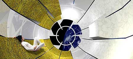 Recreación virtual de una habitación-cápsula del Galactic Suite (Foto EFE)