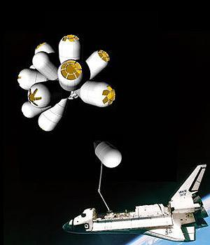 Recreación virtual del Galactic Suite junto a la lanzadera espacial (Foto EFE)