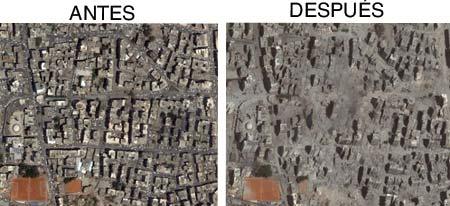Mapa comparativo de Beirut en junio y en agosto, antes y después del ataque israelí