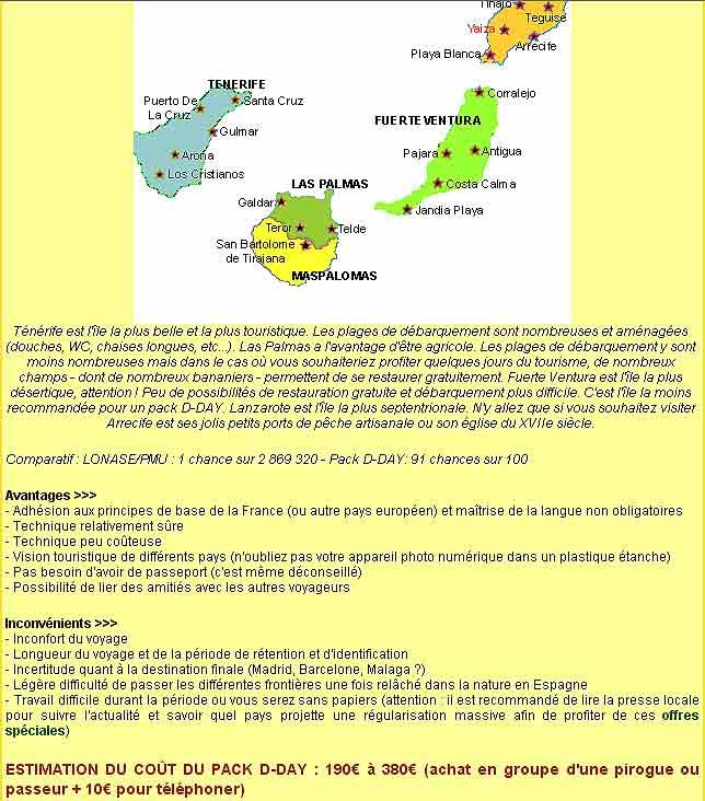Una web senegalesa, ofrece junto a un mapa de destinos en Canarias, el coste del viaje.
