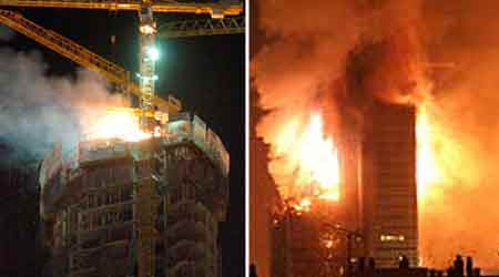 La torre Espacio (izquierda) y la torre Windsor (derecha) dos de los más recientes e impactantes incendios en la capital