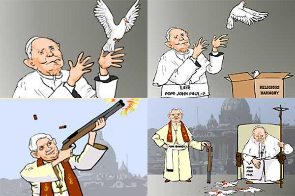 190906 caricatura del Papa Benedicto