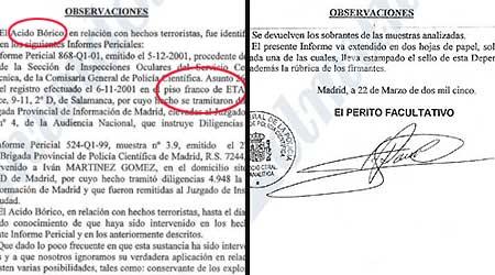 """Informe """"verdadero"""", que recoge el registro del piso de ETA (i), y las observaciones  del """"falso"""". (El Mundo)"""