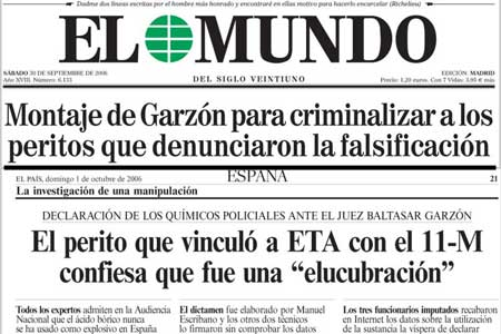 Portada de El Mundo del sábado (arriba), y de El País el domingo (abajo). (El Mundo / El País)