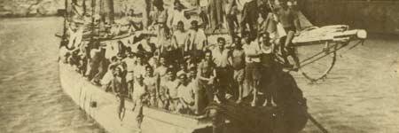 El velero La Elvira, a su llegada a Carúpano (Venezuela).
