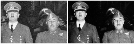 Foto trucada de Franco y Hitler