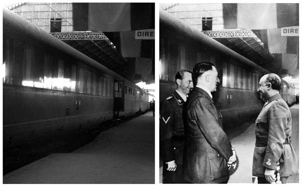 Imagen trucada de Hitler y Franco en Hendaya.