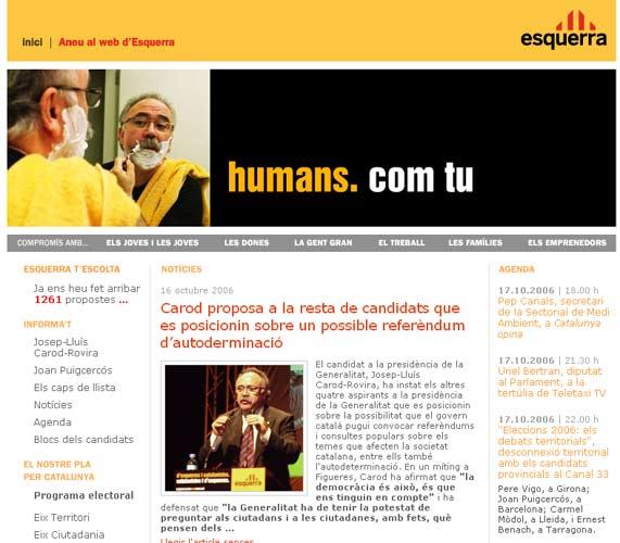 Portada de la web de ERC