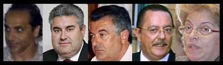 Rostros de algunos de los imputados en casos de corrupción urbanística (Archivo).