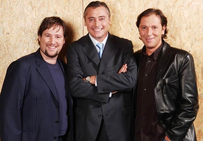 Carlos Latre, Michael Robinson, y Paco González, de Maracaná 06