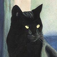 Cuadro de un gato negro.
