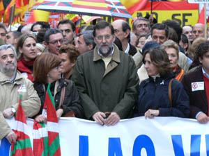 Rajoy y la plana mayor del PP estuvieron en la manifestación