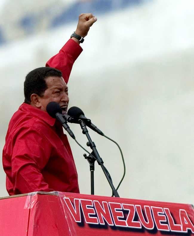 Chávez, durante el mitin en Caracas.