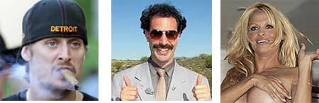 Kid Rock, Borat y Pamela Anderson©Korpa