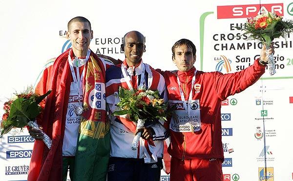 Mo Farah, Fernando Silva y Juan Carlos de la Ossa