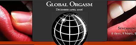 Cartel promocional del Orgasmo Global por la Paz.