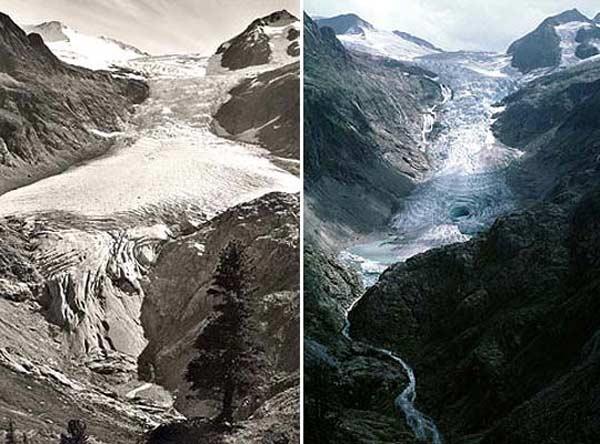 Una evidencia del deshielo en el glaciar suizo de Trift: A la izquierda, una imagen de 1948; a la derecha, una de 2003