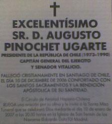 Esquela de Augusto Pinochet publicada hoy, 7 de enero, en El Mundo.