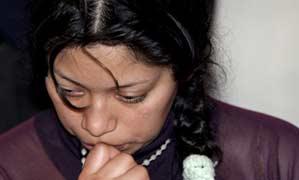La novia del desaparecido Diego Armando Estacio, Verónica Arequipa (EFE).