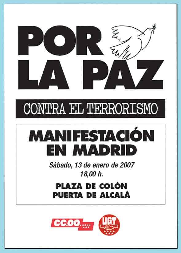 Cartel provisional de la manifestación contra ETA del 13 de enero, sábado.