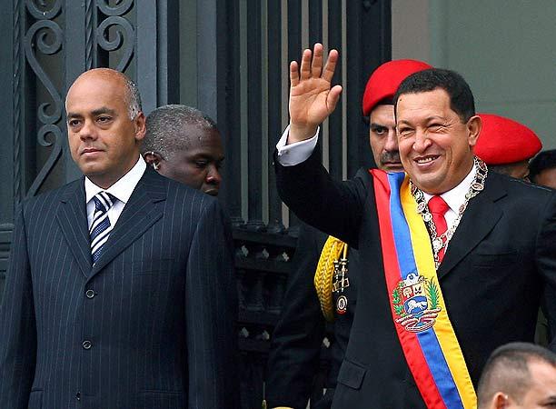 Hugo Chávez, al comienzo de los actos oficiales de su tercera posesión como gobernante