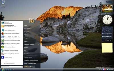 Aspecto del menú Inicio del nuevo Windows Vista