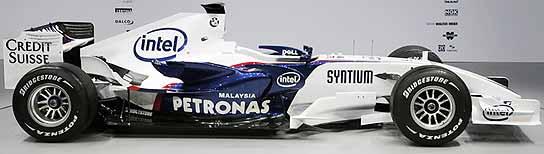 Vista lateral del F1.07 de BMW.