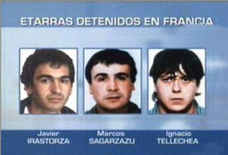 Detenidos tres presuntos etarras en Francia