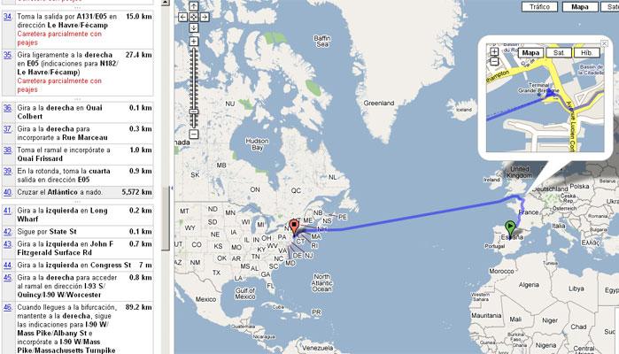 Google maps te invita a cruzar el atl ntico a nado 5 for Como ir de barcelona a francia