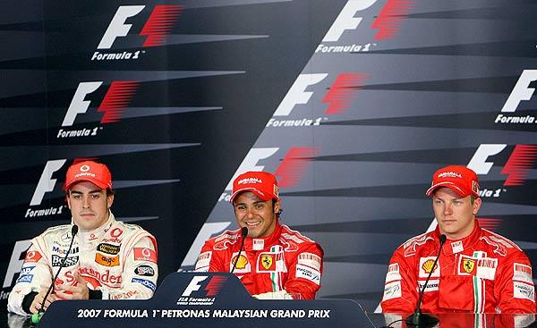 Fernando Alonso, Felipe Massa y Kimi Raikkonen