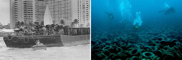 Un arrecife artificial, constituido por neumáticos, está dañando el fondo marino de Florida